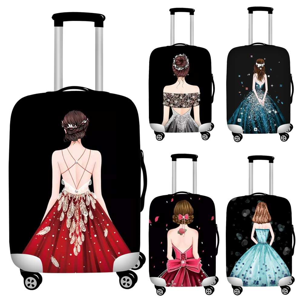 Twoheartsgirl Black Princess Girls Ladies Luggage Protective Dust Covers Elastic 18-32inch Travel Suitcase Cover Baggage Covers