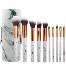 10Pcs Marble Makeup Brushes Set Kit Blush Powder Eyeshadow Cosmetic Brush with Holder  Pincel Maquiagem