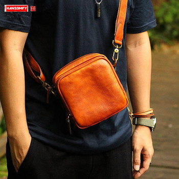 Genuine Leather fashion men's small bag shoulder messenger bags men retro leather casual carry mini crossbody bags