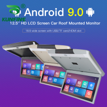12.5 Inch Scherm Digitale Scherm Android 9.0 Autodak Monitor Lcd Flip Down Screen Overhead Multimedia Video Plafond Dak Mount