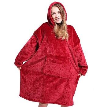 Oversized Hoodies Sweatshirts Women Wearable Hoodie Blanket with Sleeves Fleece Soft Plaid Blanket Winter Hoodies Pullover 1