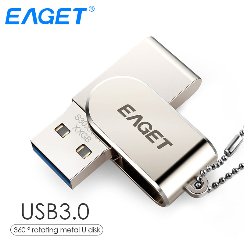 EAGET USB Flash Drive, 32GB Metal Pendrive High Speed USB 3 .0 Memory Stick 64GB Pen Drive Real Capacity