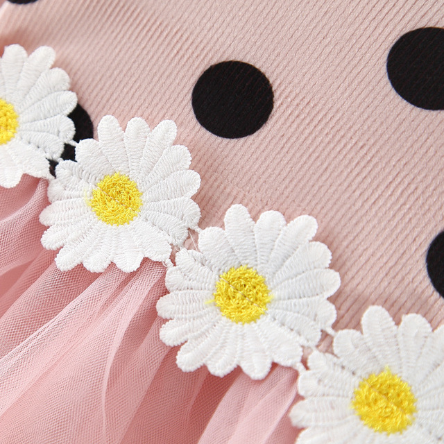 Girl's Polka Dot Dress with Daisy Appliques 5