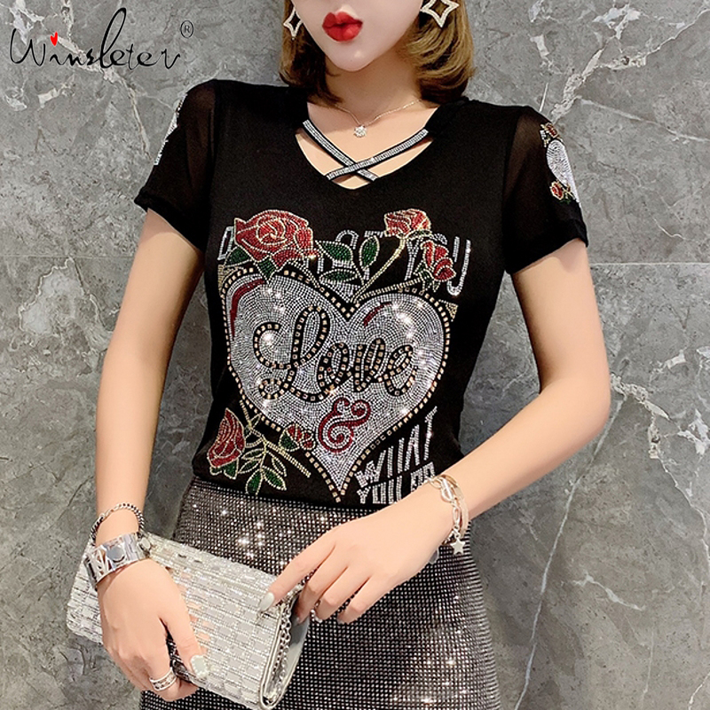 Summer Fashion Korean Clothes T-shirt Sexy Hollow Out Diamonds Letter Rose Women Tops Ropa Mujer Patchwork Mesh Tees 2020 T06633