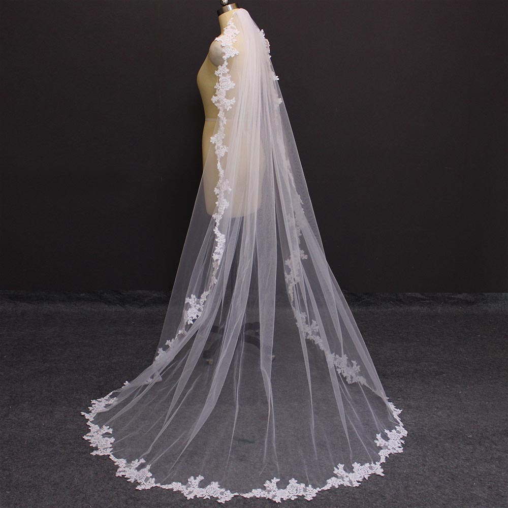 Lace Appliques 2 Meters Long Wedding Veil With Comb White Ivory 200CM Bridal Veil Voile Mariage