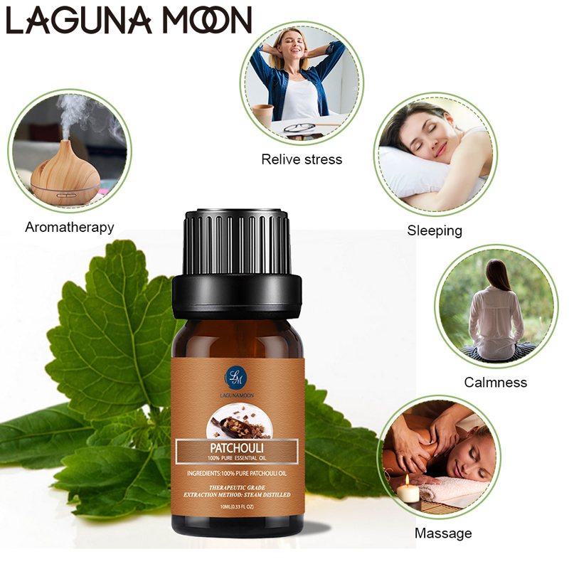 Lagunamoon Patchouli 10ML Pure Essential Oil Massage Diffuser Aroma Vanilla Basil Sandalwood Jasmine Peppermint Ylang RoseOil