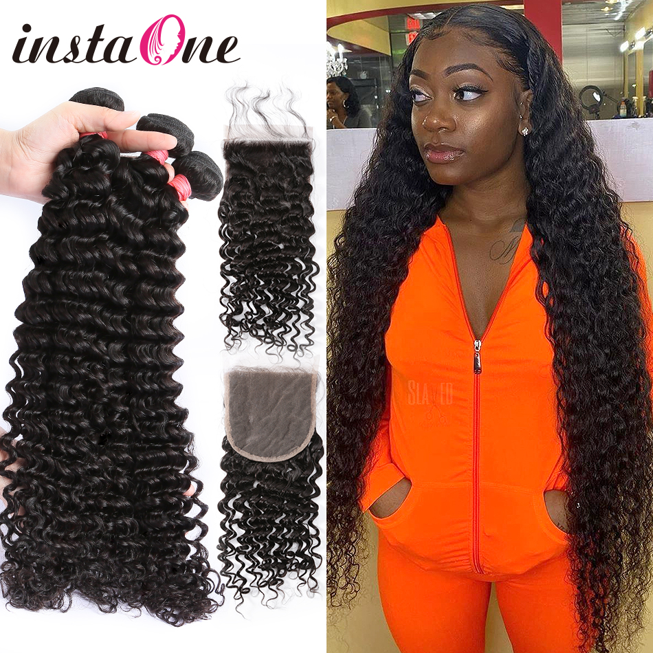 28 30 40 Inch Deep Wave Brazilian Hair Weave Bundles With Closure 3 4 Bundles Curly Human Hair And Closure Remy Hair Water Wave