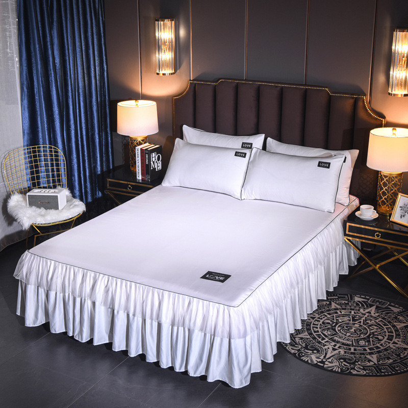 1-3pc Bed Skit Pillowcase White Sheet Cover Ruffle Matress Cover Solid Color Bedroom Bedspread Skirt Wedding Decor Gift European