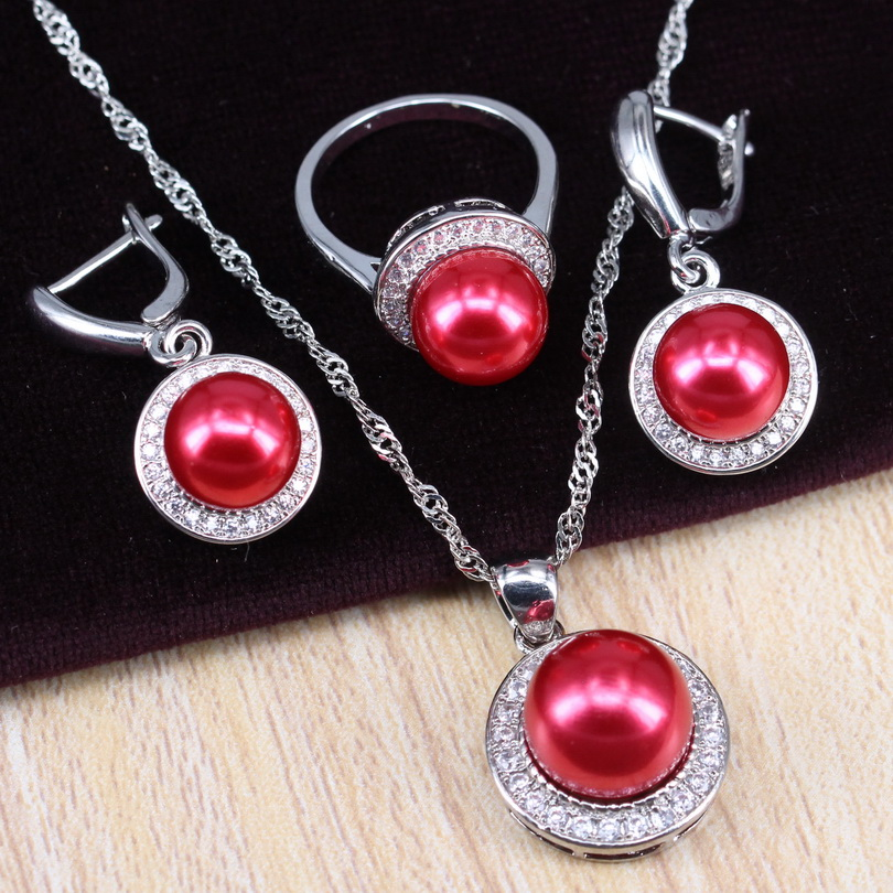 Ring Necklace Wedding-Jewelry-Sets 925-Silver Women Red Pearl