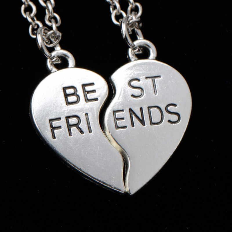 אופנה 2 הטוב ביותר חבר תליוני שרשראות תכשיטי ידידות שבור לב חלקי שרשרת