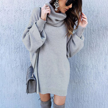 Sweater Dress Autumn Winter Lantern Sleeve Turtleneck Knitted Dresses Pullover Casual Women Dress 2019 Vestidos Femme vonda women autumn winter dress casual loose long sleeve turtleneck sweatshirts pullover dresses female plus size vestidos