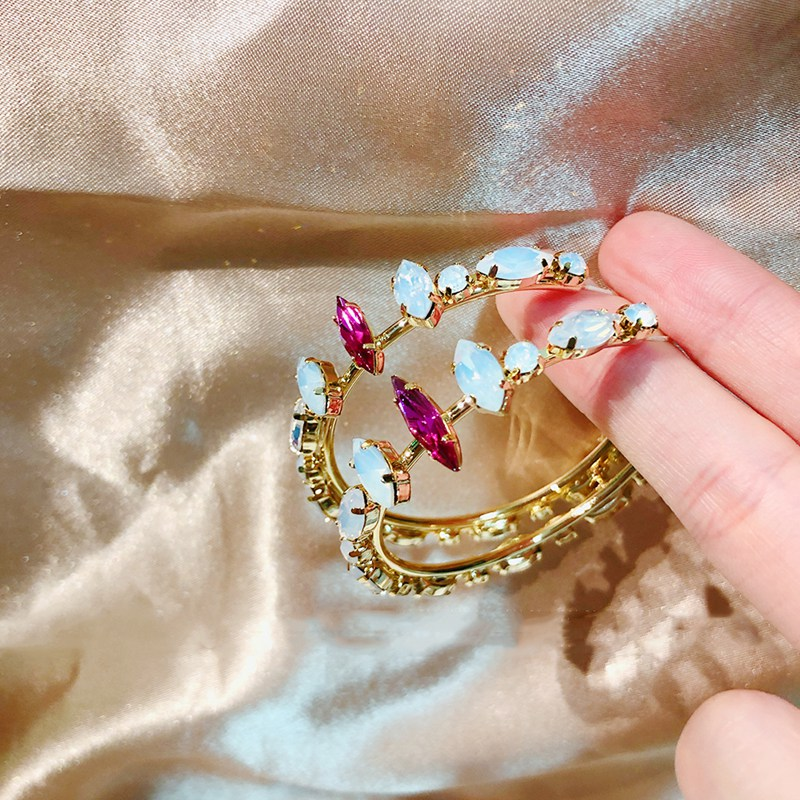 MENGJIQIA Korean TV Star Pink Crystal Elegant Hoop Earrings For Women Party Jewelry Fashion Big Circle Boucle d'oreille Gifts