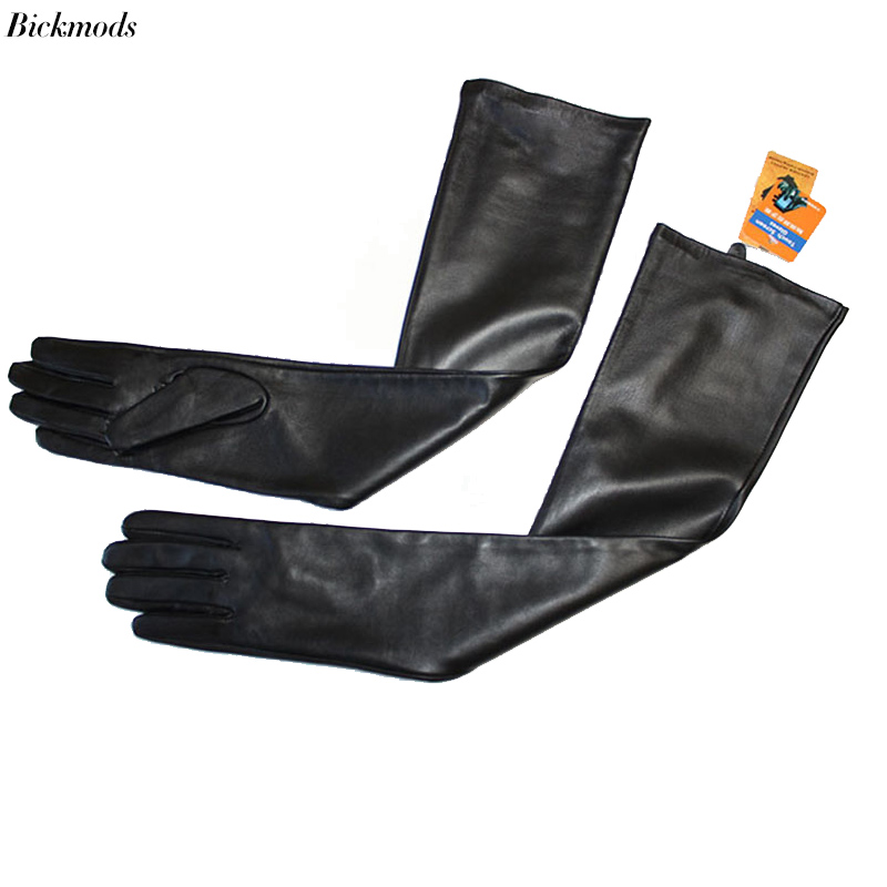 BICKMODS Long Leather Gloves Women Long Sheepskin Gloves Touch Screen Thin Silk Spring And Autumn Thick Velvet Lining Arm Sets