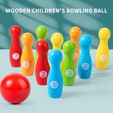 12 шт. деревянный цветной набор для боулинга, 10 контактов, 1 мяч, игра для боулинга для детей, домашние Семейные спортивные обучающие игрушки д...