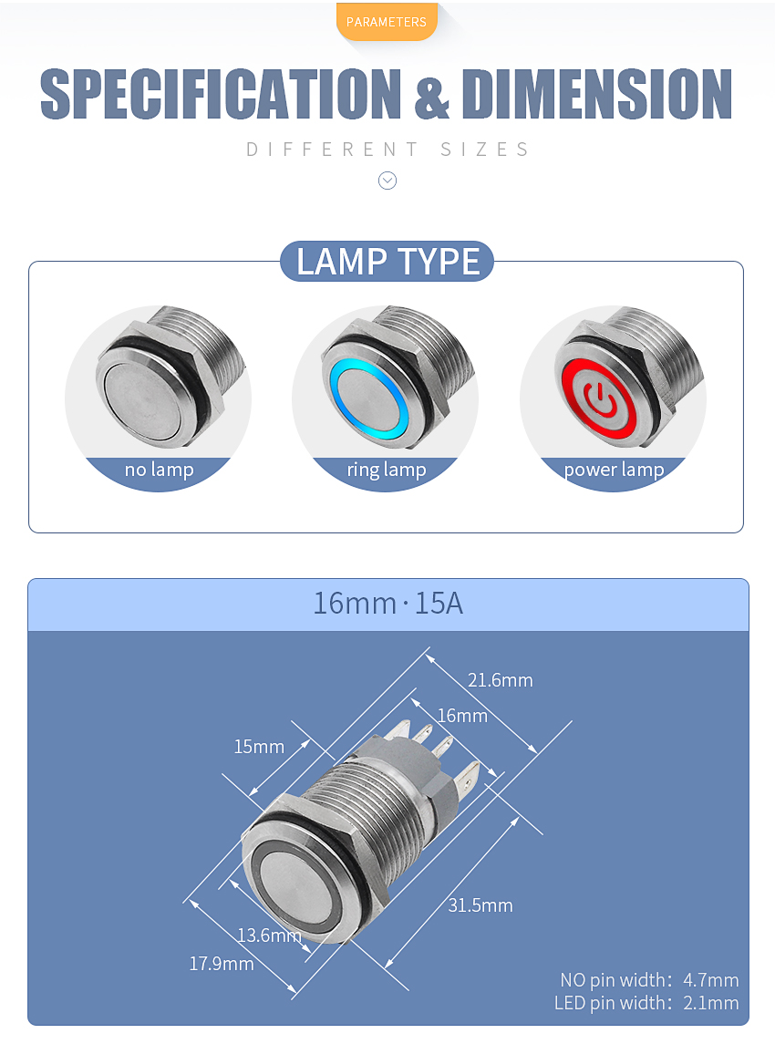 Hfa0e1fc894df49fe9b1055877fa6ffb06 - 16mm High current 15A metal stainless steel button switch  pressing momentary switch self-recovery and self-locking 12V24V220V
