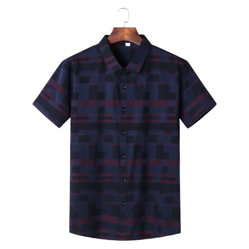 2020 8XL 7XL 6XL Men's Spring And Summer Casual Short Sleeved Shirt Fashion Elegant Business Office Work Wearing Men's Blouses