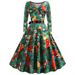 S-5XL Christmas Print Vintage Dress Women Autumn Winter Long Sleeve A-line Midi Party Dress Pin Up 50s 60s Robe Femme Plus Size 3