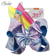 Oaoleer Hair Accessories 7 Inch jojo siwa Bows for Girls Stars Printed Leather JOJO BOWS with Clips Handmade
