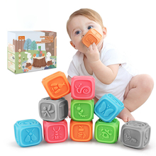 10pcs Baby Grasp Soft Building Blocks Soft Hand Ball Kids Bath Toy Baby Massage Rubber Teethers Squeeze Toy Bath Toys juguetes