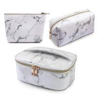 MAANGE-bolsas de maquillaje para mujer, 3 uds., bolsa portátil para cosméticos, organizador impermeable, estuche multifunción, aseo de mármol