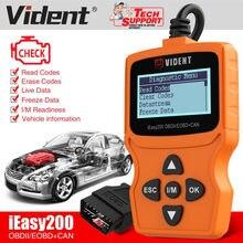 Vident ieasy200 ferramenta de diagnóstico automotivo, obdii/eobd +, leitor de código, verificação de motor, luz de carro