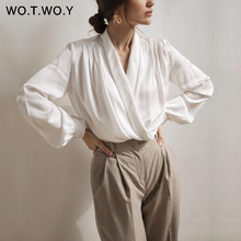 WOTWOY Sexy Deep V-neck Blouse Women 2020 Spring Summer Office Lady Pleating Whi