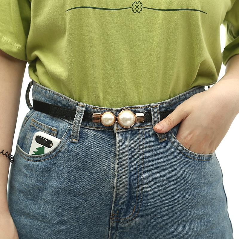 Fashion Thin PU Leather Belt Simulated Pearl Elastic Waist Belts Women Dress Skirt Decoration Fashion Girls Gifts