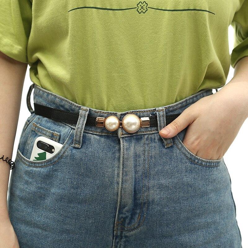 Fashion Thin PU Leather   Belt   Simulated Pearl Elastic Waist   Belts   Women Dress Skirt Decoration Fashion Girls Gifts