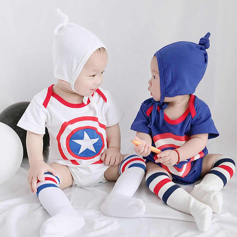 Летняя одежда для маленьких мальчиков и девочек Костюм Капитана Америки из 3