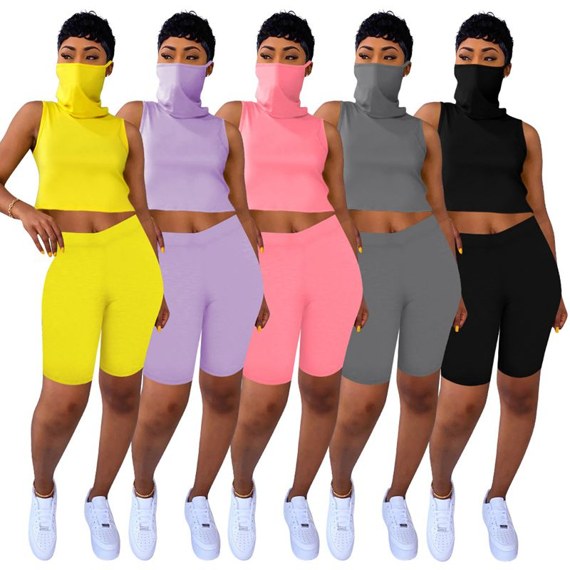 ZKYZWX Sexy 2 Piece Set Women Tracksuit Summer Outfits Lounge Wear Matching Sets Fitness Mask Crop Top Biker Shorts Sweat Suits