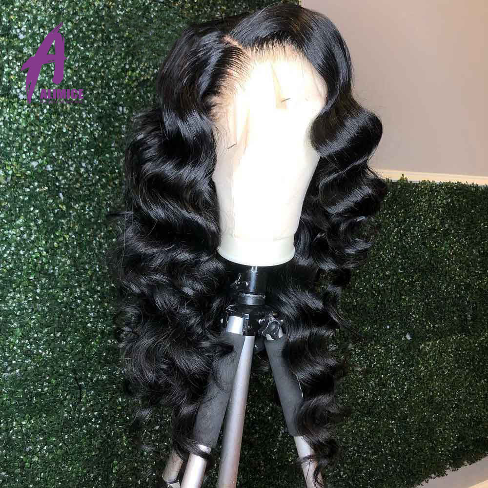 Discount╥13x4 Loose Deep Wave Lace Front Human Hair Wig 150 180 250% Brazilian Wavy Wave Hair