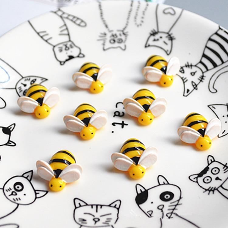 10 шт./лот Kawaii Bee миниатюрные фигурки животные Flatback Смола Кабошон DIY украшения для скрапбукинга ремесло принадлежности 20 мм