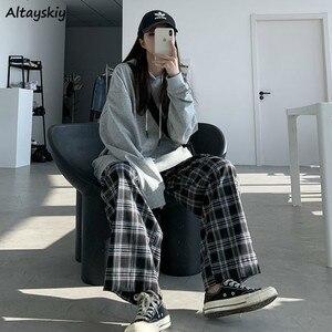 Wide Leg Pants Womens Hot Sale Summer Fall Chic High Waist All-match Teens Streetwear Ins Trendy Harajuku Plaid Womens Trouser