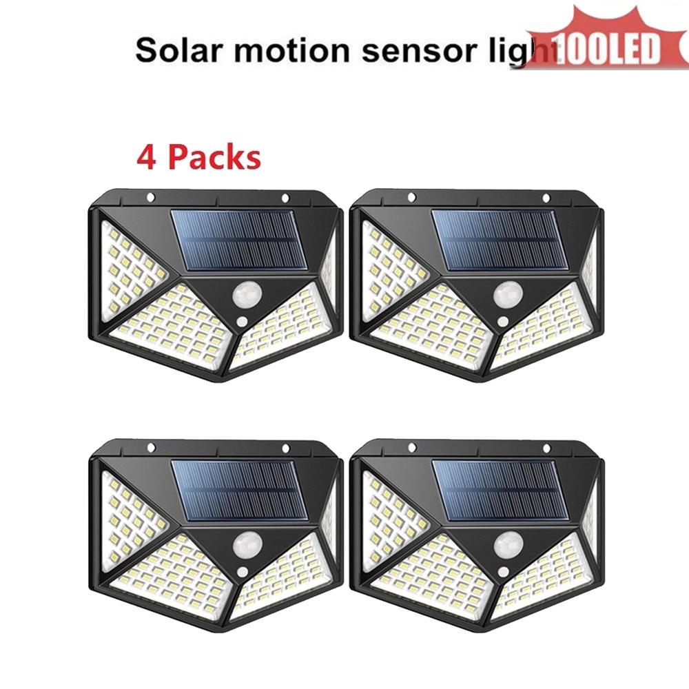 100 LEDs Solar Lamp Wall Lamp Wireless PIR Motion Sensor Solar Power Outdoor Waterproof Street Path Garden Security Light 4 Side