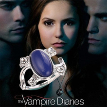 The Vampire Diaries Charm Ring For Women Movie Jewelry Damon Katherine Klaus Forbes Blue Stone Finger Ring Family Gifts Cosplay