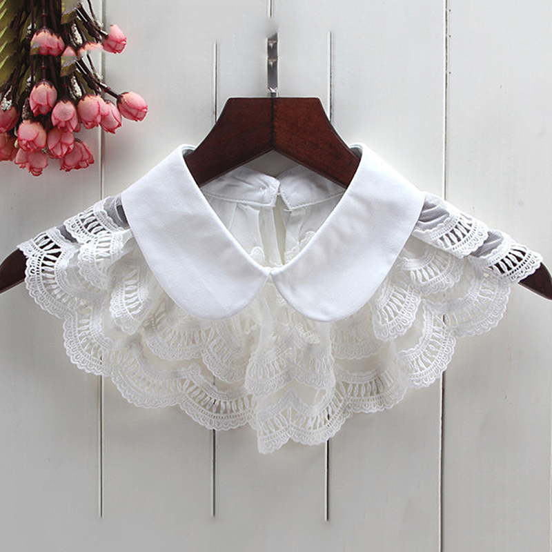 Cute Fake Collar Chiffon Clothing Decorative Detachable Lapel Choker Necklace False Collar White / Black Color Lace Fake Collar