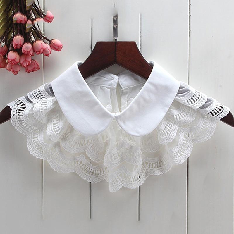Cute Fake Collar Chiffon Clothing Decorative Detachable Lapel Choker Necklace False Collar White / Black Color Lace Fake Collar