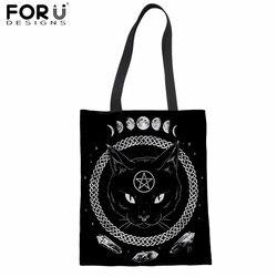 FORUDESIGNS Bonito Black Moon Prints Cat Bolsas Femininas Grandes Sacos de Compras de Lazer Senhoras Bolsa de Ombro Sacos de Lona Estudante Sacos