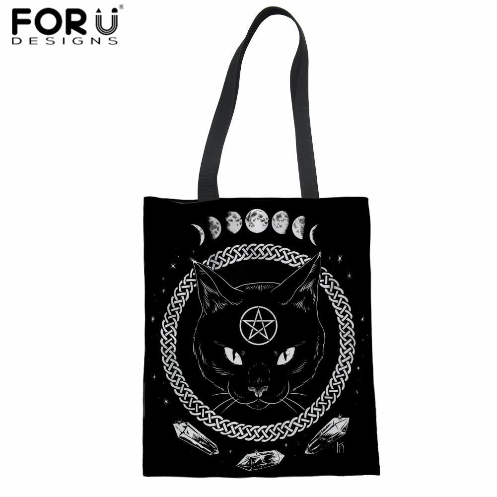 FORUDESIGNS Cute Black Moon Cat Prints Handbags Women Large Shopper Bags Leisure Ladies Tote Shoulder Canvas Bags Student Bags