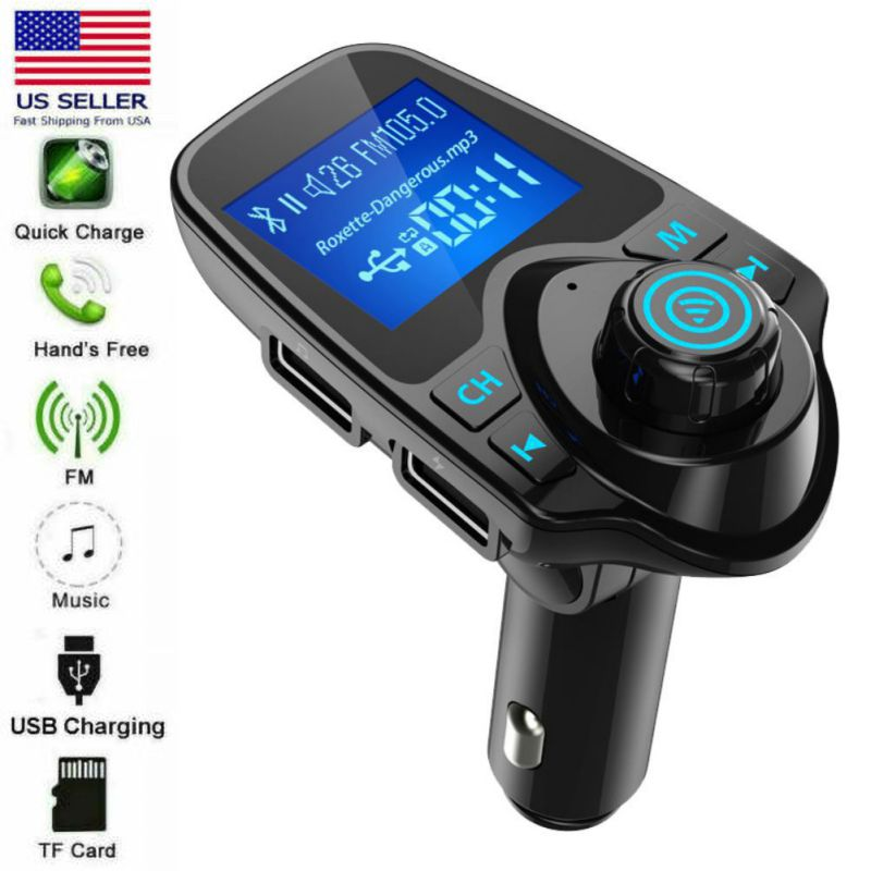 Car Mp3 Audio Player Wireless Bluetooth FM Transmitter Modulator Handsfree Car Kit LCD Dual USB Charging for iPhone XS X 11 Pro