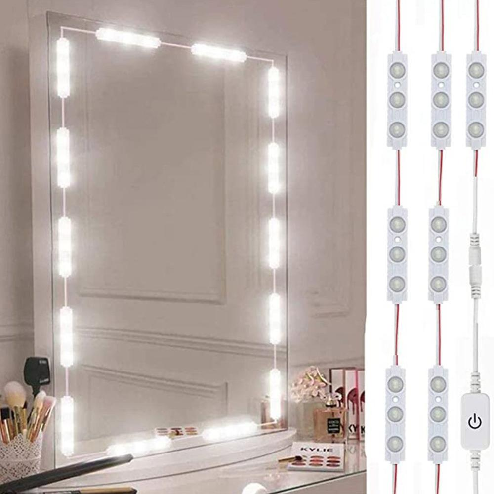 Makeup Vanity Mirror Light Strip Led Cable Dimmable Dressing Table Lamp Tape Bathroom Make Up Cosmetic Mirror Lights Kit Us Plug Led Indoor Wall Lamps Aliexpress