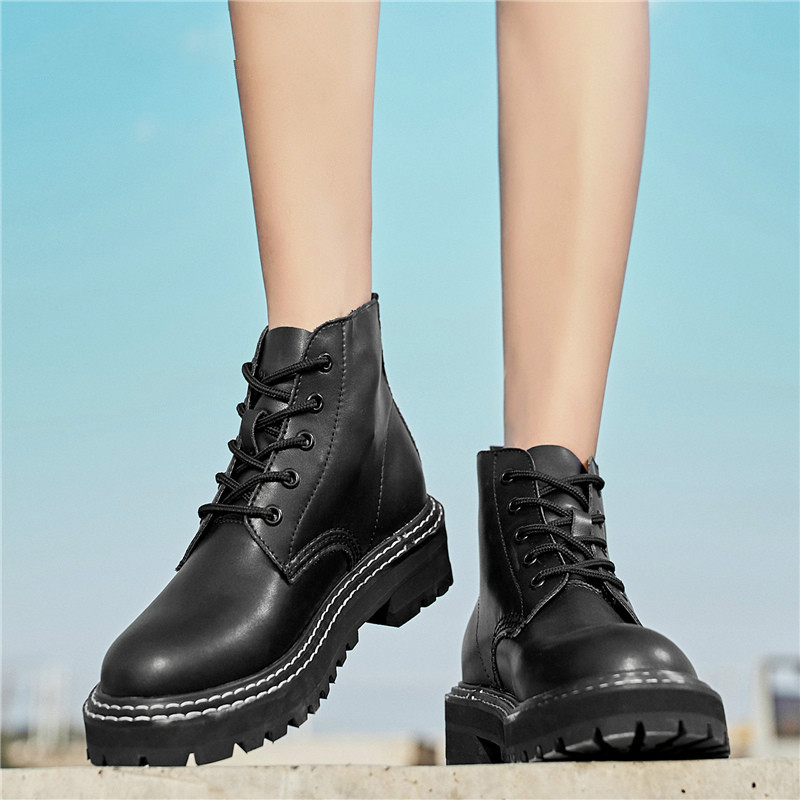 Autumn Women Chelsea Boots Genuine Leather Ankle Boots for Women Casual  Motorcycle Shoes Winter Couple Shoes Zapatos Mujer 1