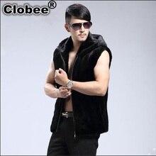 Chalecos Hombre офисный зимний черный блейзер Мужской с жилетом пальто из искусственного меха без рукавов на молнии норковый мех Повседневный жилет X687