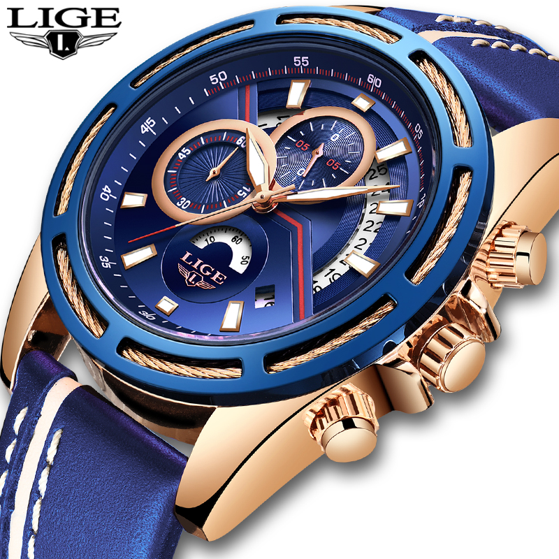 LIGE Mens Watches Top Brand Luxury Blue Military Sports Watch Men Leather Waterproof Clock Quartz Wrist Watch Relogio Masculino