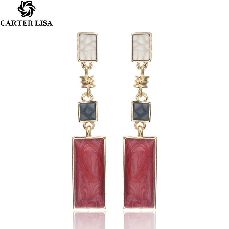 CARTER LISA 2019 New Selling Women Fashion Design Enamel Square Drop Earring Geometric Fashion Dangle Earrings Jewelry HLEZ82000