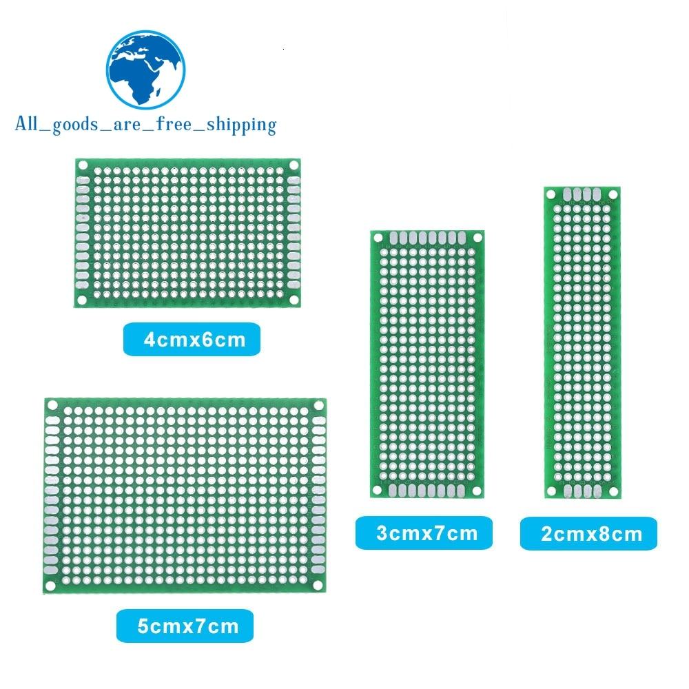 Прямая поставка 20 шт. 5x7 4x6 3x7 2x8 см двухсторонний медный Прототип pcb универсальная плата Стекловолоконная плата для Arduino