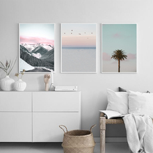 Tropical Sea Palm tree Mountain Landscape Wall Art Canvas Poster Nordic Motivational Print Painting Picture for Living Room