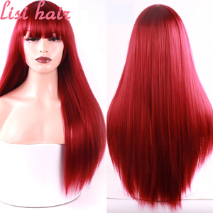 LISI HAIR Long Straight Wig With Bangs Red Bang With Wig Synthetic Hair Wigs For Woman Black Gray Wigs Heat Resistant 26 Inch(China)
