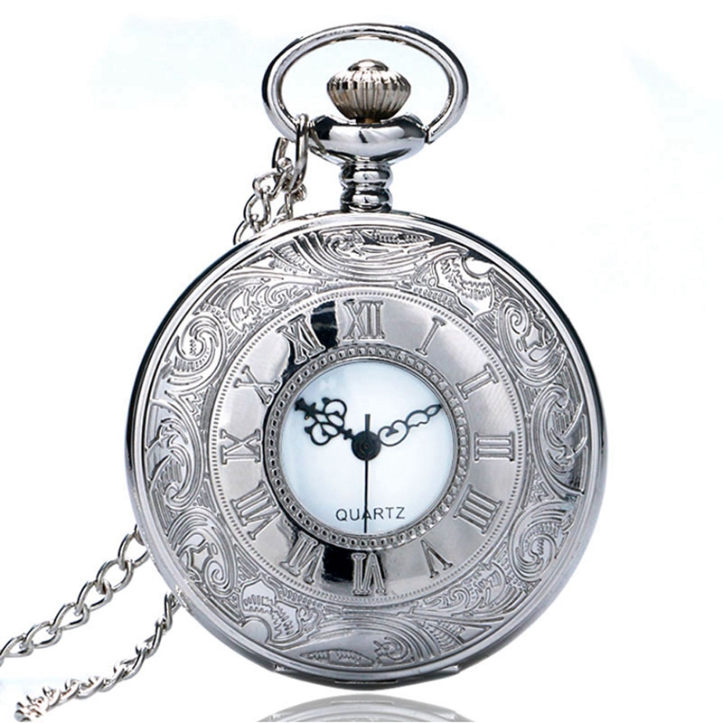 Luxury Silver Color Hollow Pocket Watch Roman Numbers Quartz Watches Fashion Necklace Pendant Simple Clock Gifts For Women Men