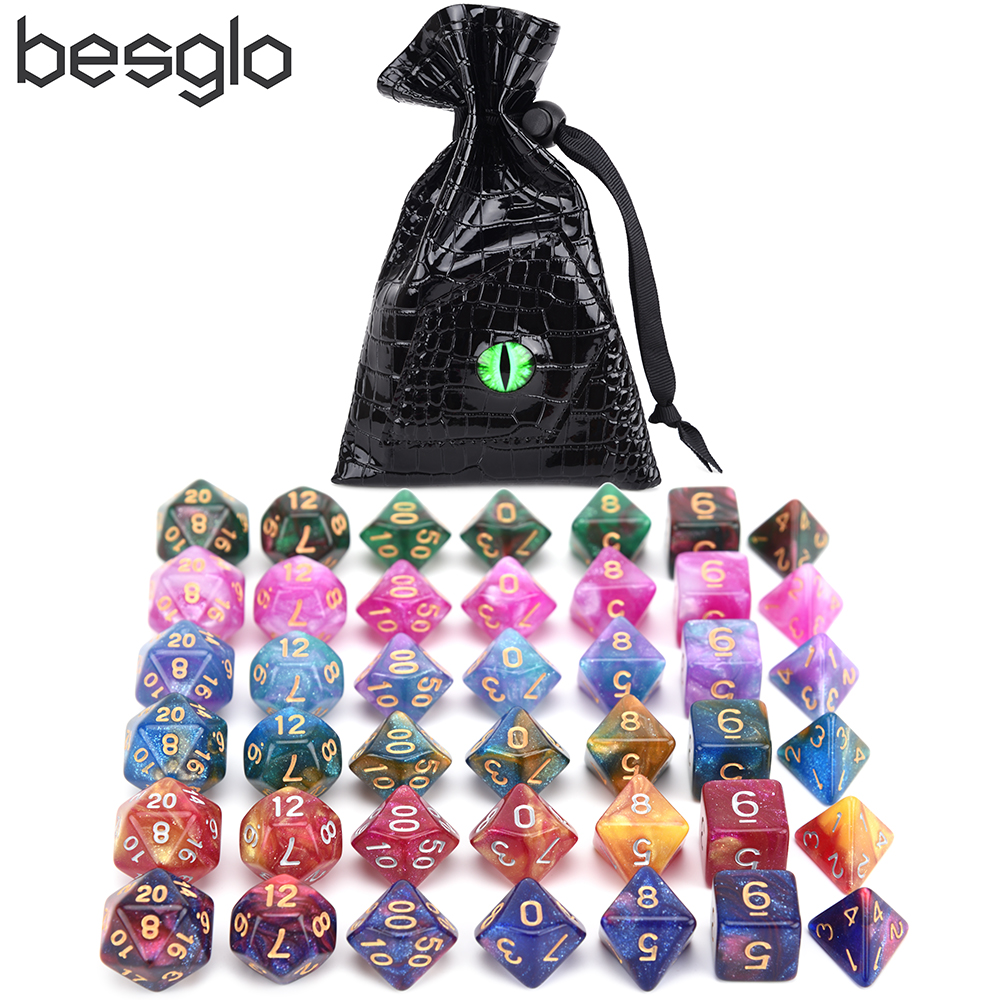 42pcs Nebula Dice Set Polyhedral Dice For DnD Tabletop RPGs Games D4 D6 D8 D% D10 D12 D20 Dragon Eye Bag And Drawstring Dice Bag